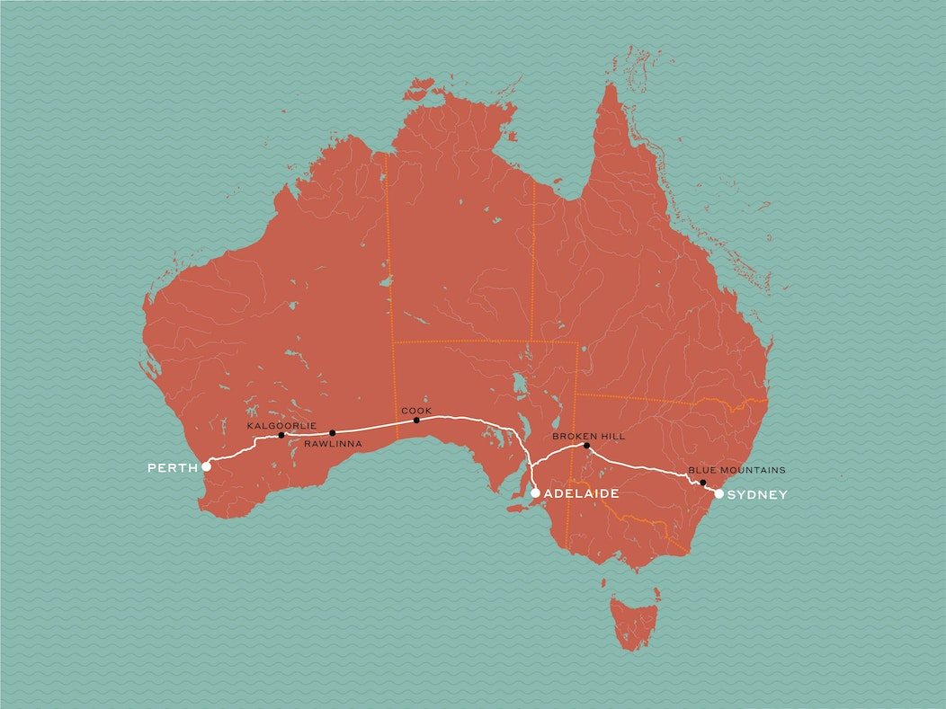 Australia Map Mountains.Indian Pacific Journey Beyond Rail Expeditions